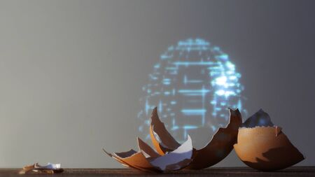 Fragments of eggshells and a hologram of an entire artificial egg. Natural and artificial, sci-Fi concept. Biotechnologies and the evolution of life forms