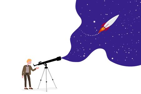 character looks through a telescope, the starry sky and a rocket in space. Concept of strategic thinking, flat style. Scientific research and study of the universe