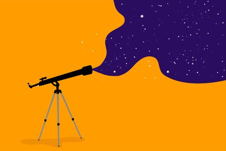 Space research and science, concept. Telescope on an orange background, infinite space as a field of research, school poster, free space for text
