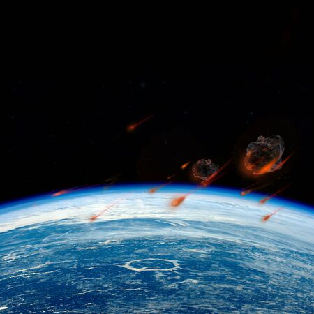 Stream of asteroids flying to Earth, space danger. Free space for text.