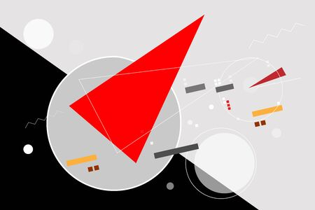 The red wedge breaks through the grey circle, the idea of going beyond. Abstraction in the style of avant-garde, geometric forms