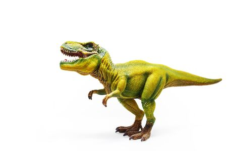Tyrannosaurus Rex, a huge reptile from the Jurassic period, a children's toy. Figure isolated on white