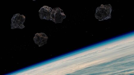 Stream of asteroids flying to Earth, space danger. View from orbit.