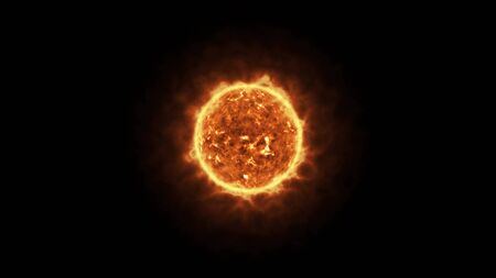 sun is a star or fireball on black background, computer render effect