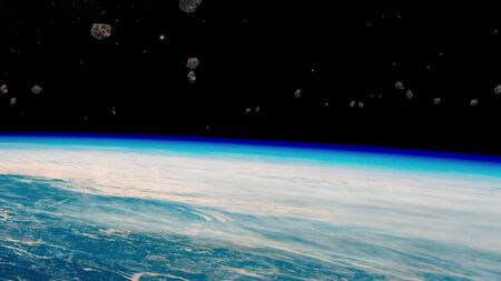 Stream of asteroids flying to Earth, space danger. View from orbit. Elements of this image furnished by NASA.