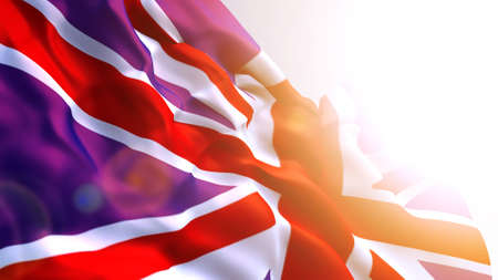 British flag in the wind, computer graphics. English flag, texture with folds and sun glare