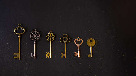 Many different old keys from different locks, in order in a line, flat lay. Finding the right key, encryption, concept. Retro vintage brass keys on a black background 写真素材