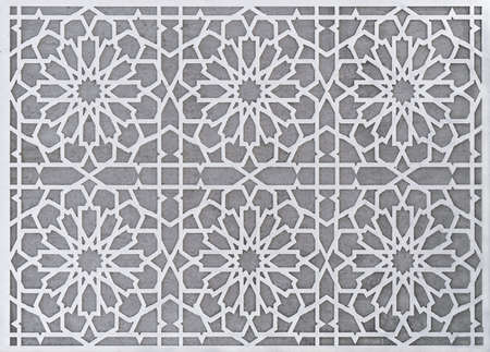 Traditional Arabic pattern of flower beds near a fountain in Dubai, United Arab Emirates
