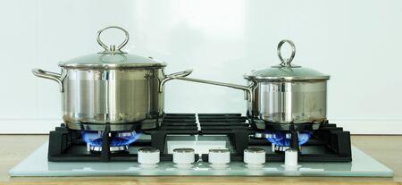 Pot on the gas stove in kitchen Archivio Fotografico