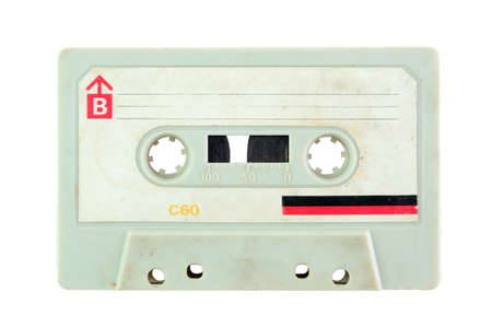 Close up of vintage audio cassette, isolated on white background Banque d'images