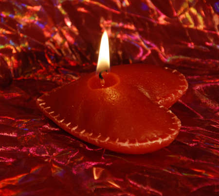 bougie coeur: Heart Candle. St Valentine's Day souvenir.