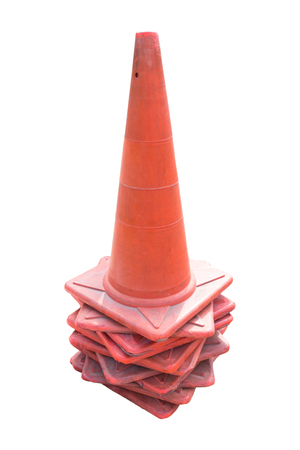 traffic   cones: old traffic cones on white background.
