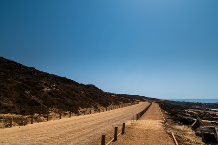 A sand road next to the sea in Portugak