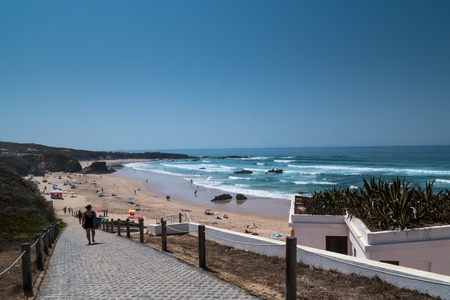 A small path to the beach and the ocean in Portugal