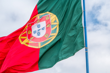 The portuguese flag blowing in the wind