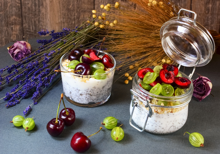 Yogurt with seeds a chia and berries on grey background