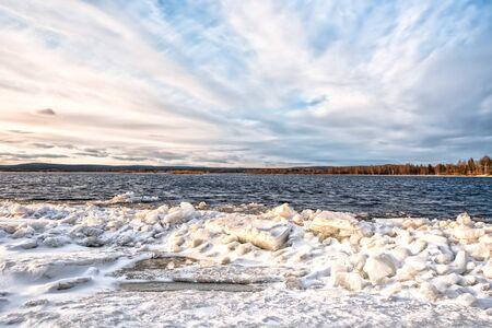 Ice braking up on a river Kemijoki in the North Finland near Rovaniemi
