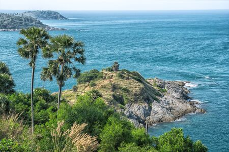 Amazing view on the cape Promthep in Thailand, Phuket with the palms and blue sea