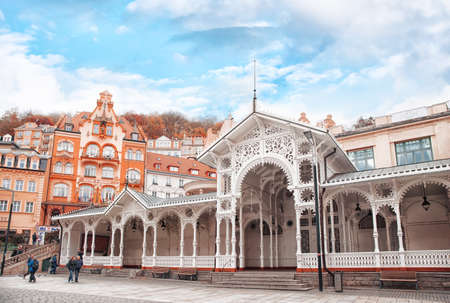 Karlovy Vary, Czech Republic - October 30, 2019: View on the Market colonnade (source of mineral water) in Karlovy Vary the most famous SPA town in the Czech Republic Redactioneel