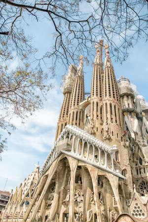 Barcelona, Spain - April 25, 2018: Famous architecture Antonio Gaudi masterpiece - basilica and temple Sagrada Familia (Holy family) in process of building