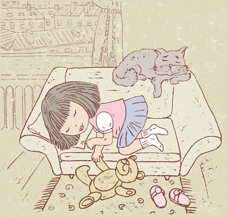 image of one little girl sleeping in the her room. Illustration