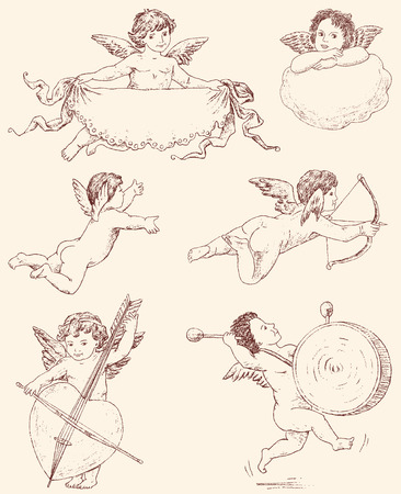 european culture: Vector drawings of various vintage angels.
