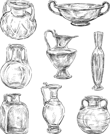 image of an ancient glass crockery. Illustration
