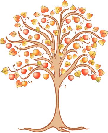 The image of a decorative apple tree. Illustration