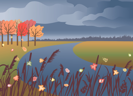 Vector image of the riverside in the autumn.