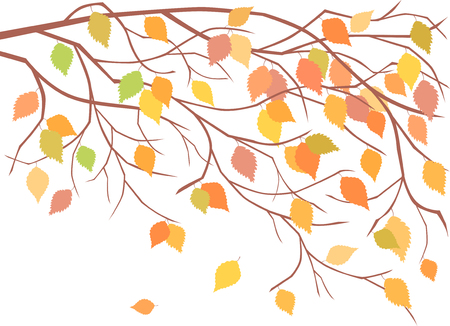 fallen: The vector image of a branch of an autumn tree.