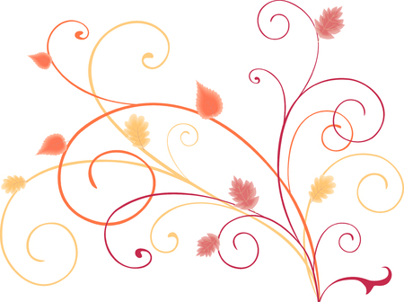 image of the decorative tendrils with the autumn leaves.