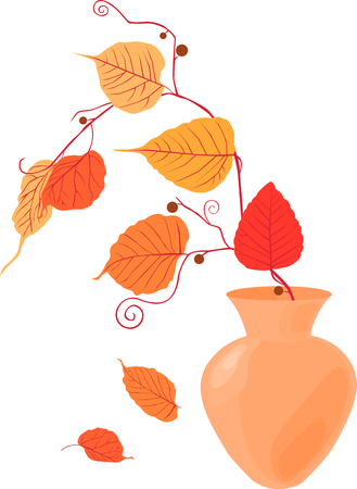 image of the autumn twig in the vase.