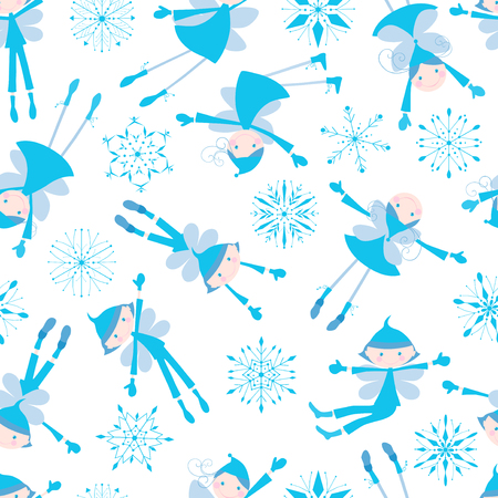 elves: Vector pattern of the flying funny winter elves.