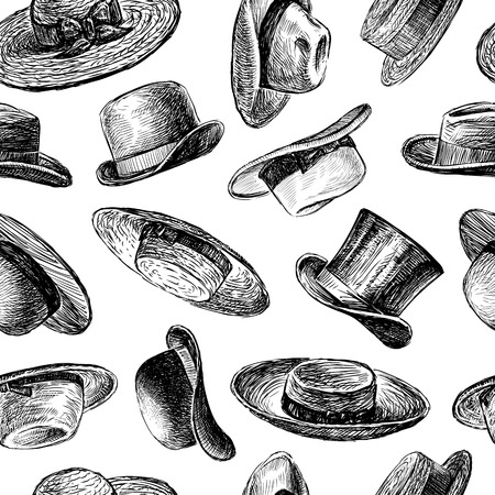 pattern of the collection of the various hats.  イラスト・ベクター素材