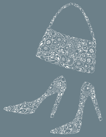 image of the silhouettes of the female shoes and a handbag