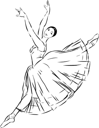 drawing of a dancing ballerina. Illustration