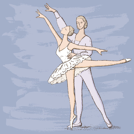 drawing of the couple of the ballet dancers