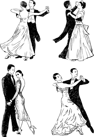 drawings of the dancing people. Illustration