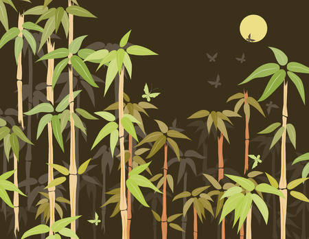 Vector image of the tropical bamboo thickets in the night.