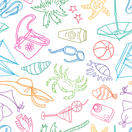 pattern of the symbols of a beach holiday. Illustration