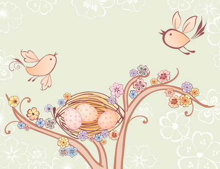 Vector image of the birds flying over their nest in the spring. Illustration
