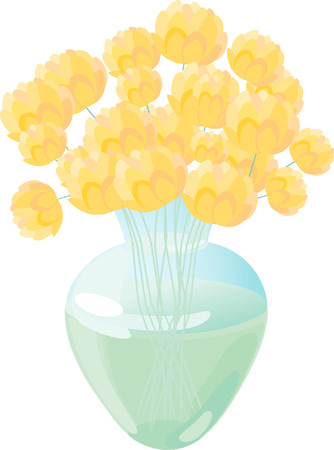 The vector image of a yellow bouquet in a glass vase. Illustration
