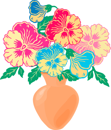 Vector image of the decorative pansies in the vase.