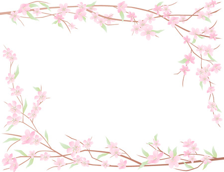Vector framework of the blooming branches of a fruit tree.