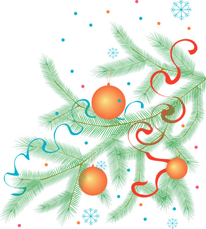 Vector image of a christmas tree branch with adornments.