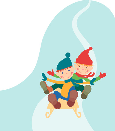 The vector image of two cheerful boys riding on a sledge from an ice slope.