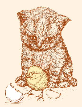 The vector drawing of a kitten and a chicken.