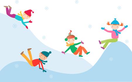 Das Vektorbild der netten Kinder, die auf einer Eissteigung spielen Standard-Bild - 80178862