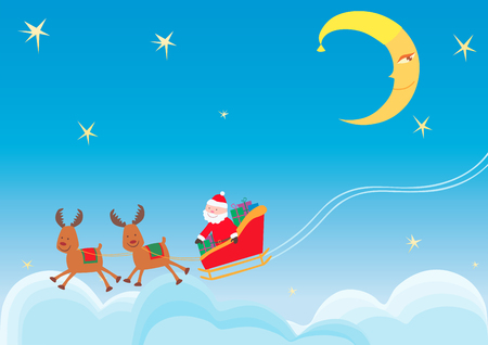 Vector image of the Santa Claus in the night sky in christmas eve