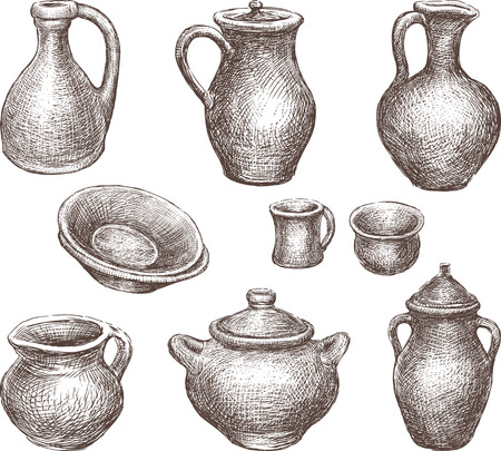 Vector drawing of the clay pottery collection.